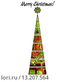 Купить «art christmas tree in green, gold, red and brown colors with abstract pattern and isolated on white background», фото № 13207564, снято 18 июня 2019 г. (c) Ingram Publishing / Фотобанк Лори
