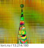 Купить «art christmas tree in green and gold colors with abstract waves pattern on gold and green background», фото № 13214180, снято 21 сентября 2018 г. (c) Ingram Publishing / Фотобанк Лори