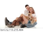 Купить «Young couple with dogs», фото № 13215484, снято 23 июля 2019 г. (c) age Fotostock / Фотобанк Лори