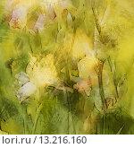 Купить «art floral vintage light yellow and green blurred background with yellow irises in garden», фото № 13216160, снято 22 июля 2019 г. (c) Ingram Publishing / Фотобанк Лори