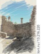 Купить «art watercolor background on paper texture with european antique town, Pompeii. Ruins of buildings», фото № 13216220, снято 10 августа 2012 г. (c) Ingram Publishing / Фотобанк Лори