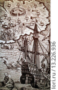 Купить «Christopher Columbus boats arriving to Hispaniola in 1492», иллюстрация № 13226936 (c) age Fotostock / Фотобанк Лори