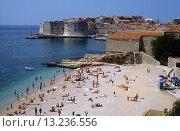 Купить «ploce beach and old town, dubrovnik, dalmatia, croatia, europe», фото № 13236556, снято 17 августа 2018 г. (c) age Fotostock / Фотобанк Лори