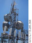 Купить «Twin Peaks, California - A communications tower on Strawberry Peak in the San Bernardino Mountains», фото № 13285368, снято 24 февраля 2019 г. (c) age Fotostock / Фотобанк Лори