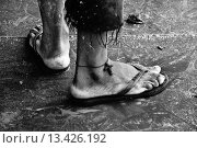 Купить «A Brazilian man wears the Christian cross symbol on his ankle as a protection against drowning in the river  Descendants of the Amazonian indigenous people...», фото № 13426192, снято 22 ноября 2019 г. (c) age Fotostock / Фотобанк Лори