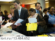 Купить «Job seekers attend a job fair at midtown in New York The US Labor Department reports new claims for unemployment benefits for last week were a seasonally adjusted 388, 000», фото № 13484652, снято 22 ноября 2019 г. (c) age Fotostock / Фотобанк Лори