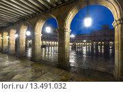 Купить «arches at Plaza Mayor at Salamanca in night», фото № 13491032, снято 18 ноября 2014 г. (c) Яков Филимонов / Фотобанк Лори