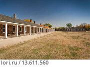 Купить «USA, Kansas, Larned, Fort Larned National Historic Site, mid-19th century military outpost, protecting the Santa Fe Trail, barracks», фото № 13611560, снято 23 апреля 2019 г. (c) age Fotostock / Фотобанк Лори