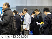 Купить «Engineers and applied science students attend an Engineering and Technology Spring Career Fair in Brooklyn in in New York The US Labor Department reports...», фото № 13708660, снято 22 ноября 2019 г. (c) age Fotostock / Фотобанк Лори