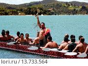 Купить «WAITANGI - FEB 6:Maori Chief and warriors row war canoe during Waitangi Day on February 6 2013 in Waitangi NZ.It's New Zealand public holiday to celebrate...», фото № 13733564, снято 6 февраля 2013 г. (c) age Fotostock / Фотобанк Лори