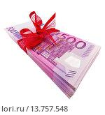 Купить «wad of 500 banknotes with red ribbon», фото № 13757548, снято 23 сентября 2018 г. (c) age Fotostock / Фотобанк Лори