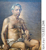 Nude self portrait(autoritratto nudo), 1945, Giorgio de Chirico, oil on canvas, national gallery of modern art, Rome, Italy. Редакционное фото, фотограф Stefano Baldini / age Fotostock / Фотобанк Лори