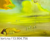 Купить «Angelic landscape, 1977, Salvador Dali', 1904-1989, oil on canvas, cm 76 x 101, vatican museums, Rome, Italy.», фото № 13904756, снято 12 декабря 2018 г. (c) age Fotostock / Фотобанк Лори