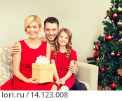Купить «smiling family holding gift box», фото № 14123008, снято 26 октября 2013 г. (c) Syda Productions / Фотобанк Лори