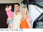 Купить «happy family with hatchback car at home parking», фото № 14125732, снято 11 августа 2015 г. (c) Syda Productions / Фотобанк Лори