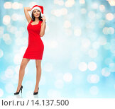 Купить «beautiful sexy woman in santa hat and red dress», фото № 14137500, снято 25 сентября 2015 г. (c) Syda Productions / Фотобанк Лори
