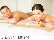Купить «couple in spa», фото № 14138940, снято 4 мая 2013 г. (c) Syda Productions / Фотобанк Лори