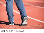 Купить «Женские ноги в кроссовках на беговой дорожке стадиона, крупный план, вид сзади», фото № 14183572, снято 16 октября 2015 г. (c) Кекяляйнен Андрей / Фотобанк Лори