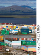 Купить «Russia , Chukotka autonomous district , Anadyr , headtown of the district , buildings painted or decorated with color pictures.», фото № 14231860, снято 21 января 2018 г. (c) age Fotostock / Фотобанк Лори