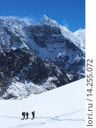 Купить «Trekkers crossing glacier on Cho La Pass, with peak of Lobuche East behind, Solukhumbu district, Sagarmatha National Park, UNESCO World Heritage Site, Nepal, Himalayas, Asia», фото № 14255072, снято 4 июля 2020 г. (c) age Fotostock / Фотобанк Лори