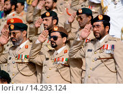 Купить «Military chiefs in uniform, with medals, saluting parade of armed forces in Abu Dhabi, United Arab Emirates», фото № 14293124, снято 22 января 2019 г. (c) age Fotostock / Фотобанк Лори