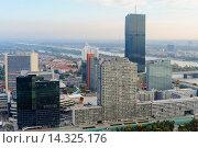 Купить «DC Tower 1 and UNO-City, Donau City, Vienna Austria», фото № 14325176, снято 20 июля 2019 г. (c) age Fotostock / Фотобанк Лори