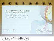 Купить «Deutschland, Berlin, 7. Mai 2013. Anlaesslich des 25-jaehrigen Jubilaeums des Deutsch-Französischen Finanz- und Wirtschaftsrates findet eine Pressekonferenz...», фото № 14346376, снято 20 июля 2019 г. (c) age Fotostock / Фотобанк Лори