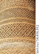Close up of wall of Kalon Minaret, Kalon Mosque, also known as Kalyan Mosque, Poi Kalon, Bukhara, Uzbekistan. Стоковое фото, фотограф Mel Longhurst / age Fotostock / Фотобанк Лори
