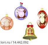 Купить «Набор елочных шаров и колокольчик с изображением обезьяны», иллюстрация № 14442092 (c) Артем Волков / Фотобанк Лори