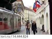 Купить «A tram passes the Hotel Roma in the lower part of Mala Strana. In ancient times it was called Malá Strana Pražské Malé Mesto The small city of Prague....», фото № 14444824, снято 12 ноября 2019 г. (c) age Fotostock / Фотобанк Лори