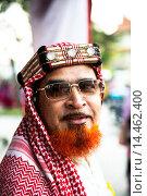 Купить «The King of Arabia. Wearing a beautiful traditional Kaffiyeh.», фото № 14462400, снято 14 января 2014 г. (c) age Fotostock / Фотобанк Лори