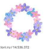 Купить «Венок из цветов на белом фоне», иллюстрация № 14536372 (c) Стойко Елена / Фотобанк Лори