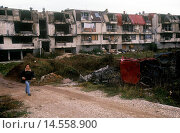 Купить «Destroyed buildings in the airport district of Sarajevo. The city was the scene of the war in Bosnia and Herzegovina and under siege for four years. Sarajevo, 1997», фото № 14558900, снято 20 февраля 2019 г. (c) age Fotostock / Фотобанк Лори