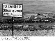 Купить «Waste and garbage on the Arenzano beach. Waste and garbage abandoned on the Arenzano beach beside a sign saying Do not soil the beach. Arenzano, August 1972», фото № 14568992, снято 22 марта 2019 г. (c) age Fotostock / Фотобанк Лори