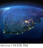Купить «Вид на ночную Землю из космоса. Южная Африка», иллюстрация № 14576764 (c) Антон Балаж / Фотобанк Лори