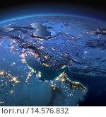Купить «Вид на ночную Землю из космоса. Персидский залив», иллюстрация № 14576832 (c) Антон Балаж / Фотобанк Лори