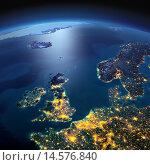 Купить «Великобритания и Северное море. Поверхность земного шара ночью», иллюстрация № 14576840 (c) Антон Балаж / Фотобанк Лори