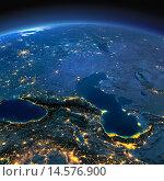 Купить «Кавказ и Каспийское море в лунную ночь», иллюстрация № 14576900 (c) Антон Балаж / Фотобанк Лори