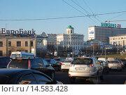 Купить «Пробка на Большом Каменном мосту и Боровицкой площади в Москве», эксклюзивное фото № 14583428, снято 19 декабря 2008 г. (c) lana1501 / Фотобанк Лори
