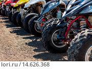 Купить «Quads or ATVs lined up, Winchester Bay», фото № 14626368, снято 30 марта 2020 г. (c) age Fotostock / Фотобанк Лори