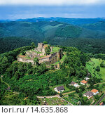 Купить «Aerial of Lichtenberg castle 13th Century Alsace France.», фото № 14635868, снято 27 февраля 2020 г. (c) age Fotostock / Фотобанк Лори