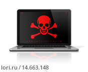 Купить «Laptop with a pirate symbol on screen. Hacker concept», фото № 14663148, снято 13 августа 2018 г. (c) PantherMedia / Фотобанк Лори