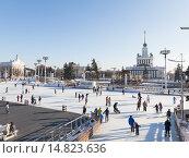Купить «Рождественский каток на ВДНХ», фото № 14823636, снято 28 ноября 2015 г. (c) Ekaterina Andreeva / Фотобанк Лори