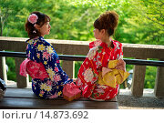 Купить «Kiyomizu-dera Temple classified as a UNESCO World Heritage by UNESCO. Two Asian women wearing traditional kimono´s at the Kiyomizu-dera Temple classified as a UNESCO World Heritage by UNESCO.», фото № 14873692, снято 17 июля 2013 г. (c) age Fotostock / Фотобанк Лори