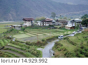Ariel view Chimi Lhakhang city, Located near Lobesa, Punakha District, Bhutan. Стоковое фото, фотограф Shashank Mehendale / Reality / age Fotostock / Фотобанк Лори