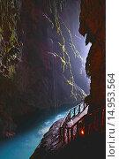 Купить «Piedra River, Monasterio de Piedra, Cave inside the Cola de Caballo Waterfall, Nuevalos, Zaragoza province, Aragon, Spain.», фото № 14953564, снято 14 мая 2013 г. (c) age Fotostock / Фотобанк Лори
