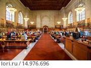 Купить «Main reading room at the Schwarzman building, main branch of the New York Public Library in Manhattan, New York, NY, USA.», фото № 14976696, снято 20 января 2020 г. (c) age Fotostock / Фотобанк Лори