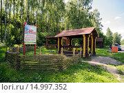 Купить «Благоустроенное место отдыха в берёзовой роще у дороги», фото № 14997352, снято 23 июня 2015 г. (c) Алексей Маринченко / Фотобанк Лори