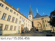 national library, Notre Dame, cathedral, Luxembourg city, Luxembourg, Europe, Nationalbibliothek, Notre Dame, Kathedrale, Luxemburg Stadt, Luxemburg, Europa. Стоковое фото, фотограф Zoonar/Barbara Boens / age Fotostock / Фотобанк Лори