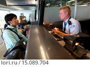 Купить «passport control at schiphol airport.», фото № 15089704, снято 1 августа 2014 г. (c) age Fotostock / Фотобанк Лори